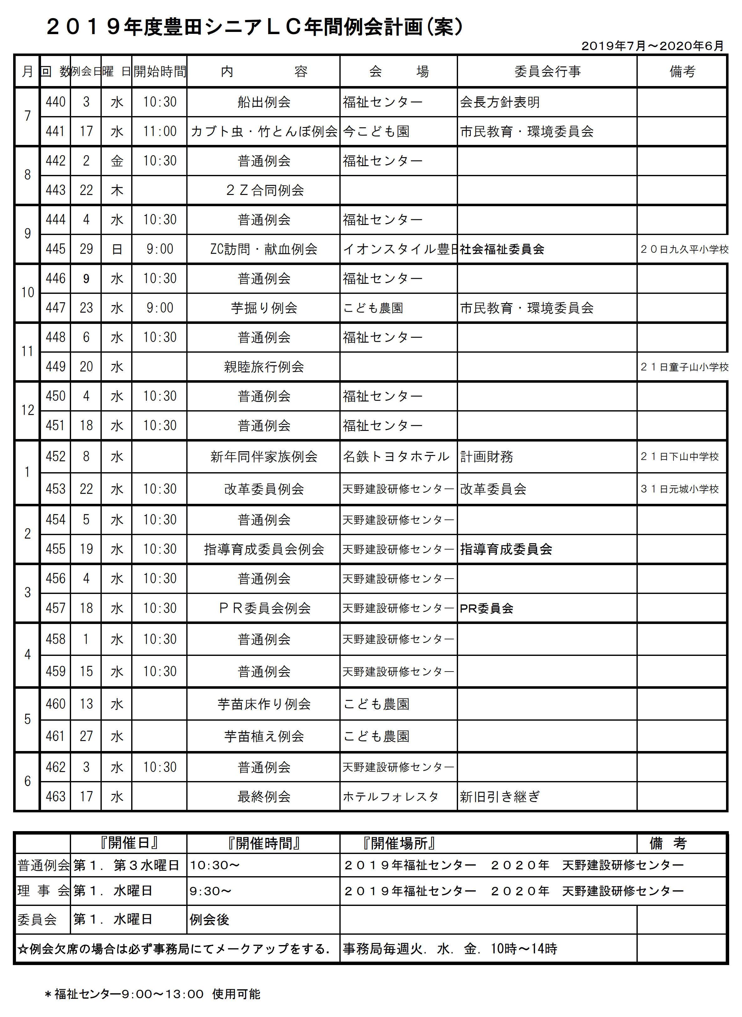 2豊田シニアLC年間例会計画表1