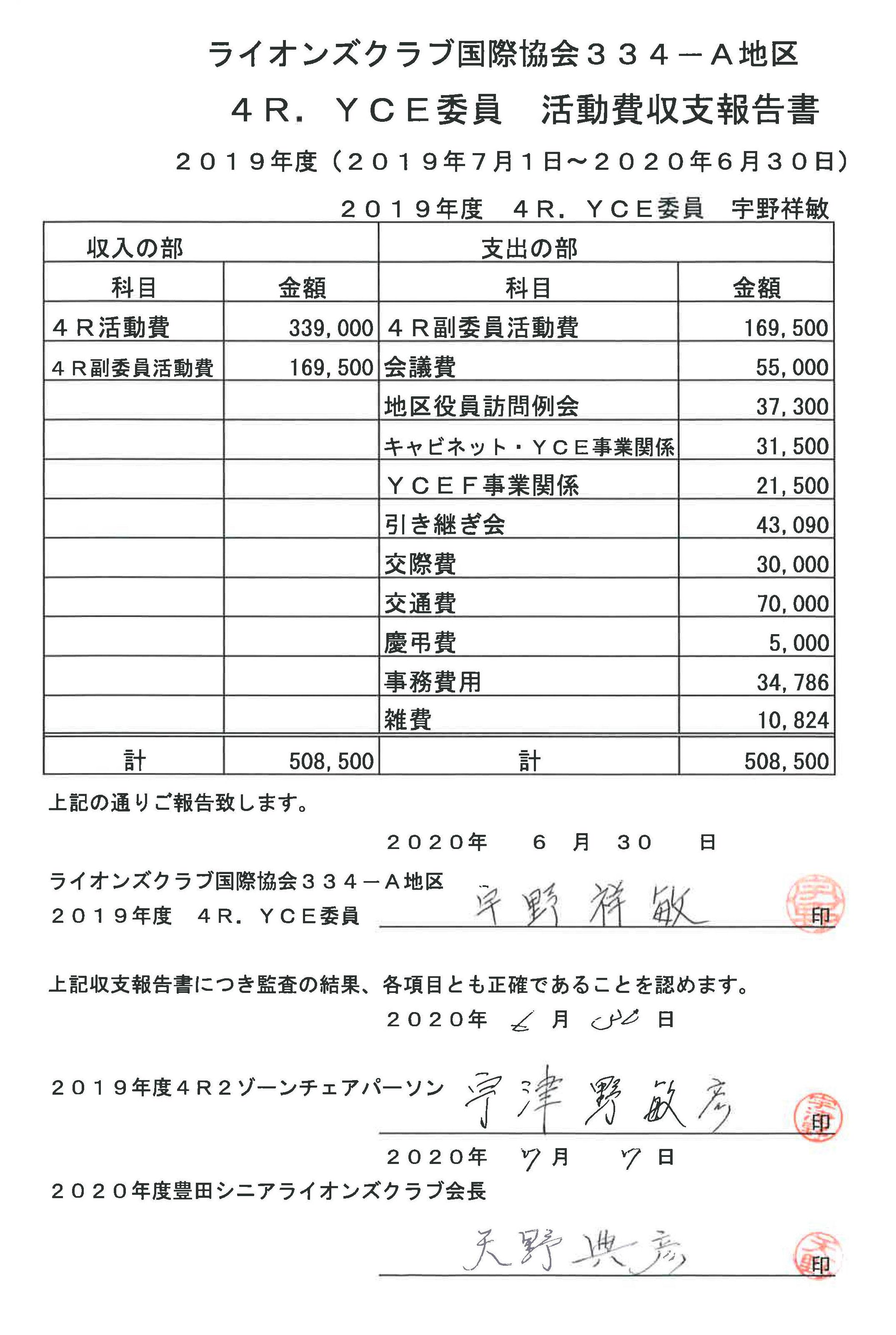 20 4R.YCE委員活動費収支報告書
