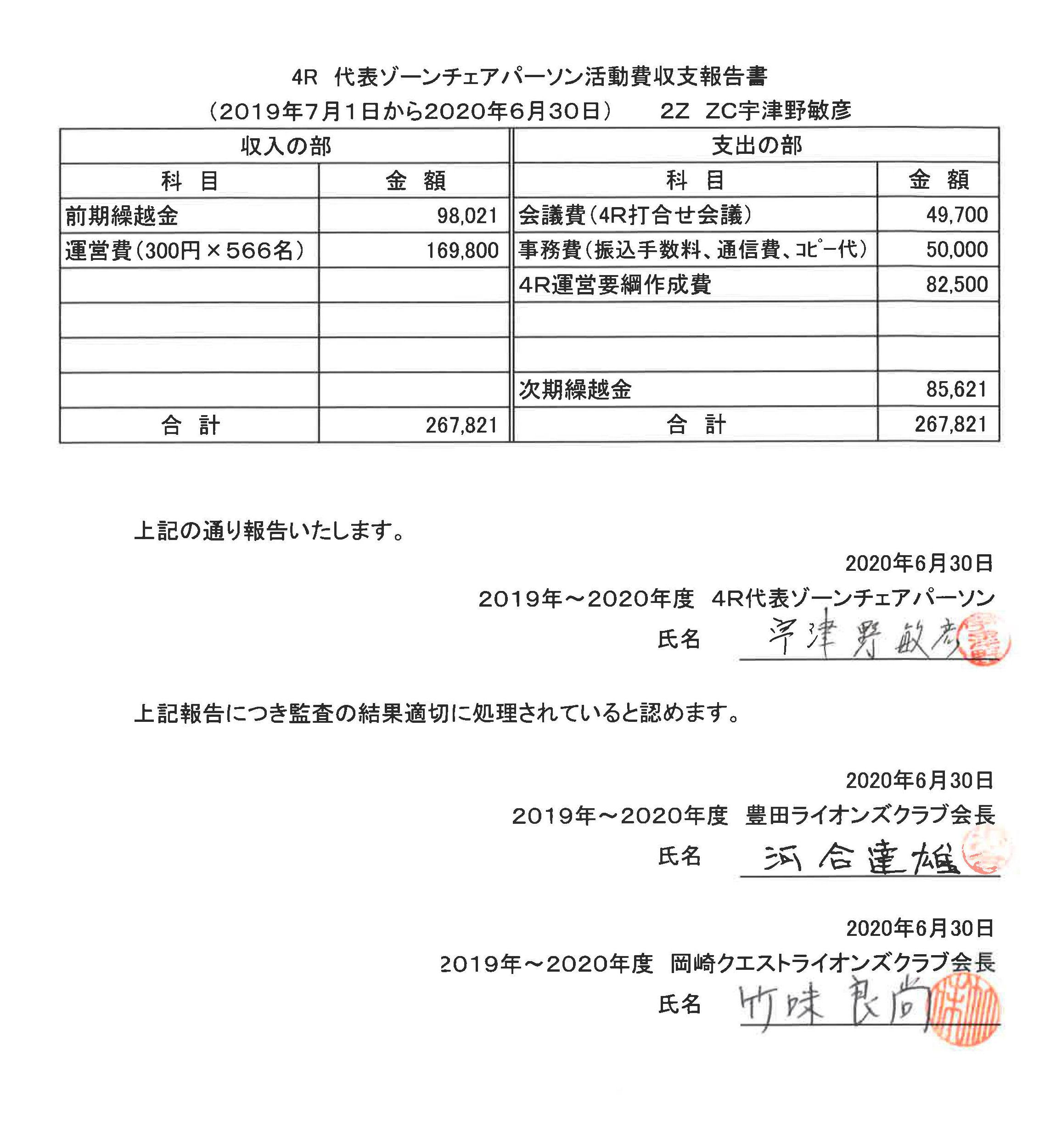 02 4R代表ゾーンチェアパーソン活動費収支報告書